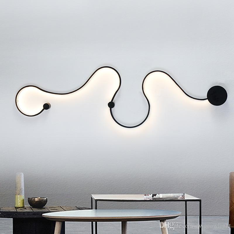 Moderna curva lámpara de pared LED con forma de serpiente S forma accesorios luces para sala de estar pasillo pasillo aluminio decoración para el hogar Murale Luminaire