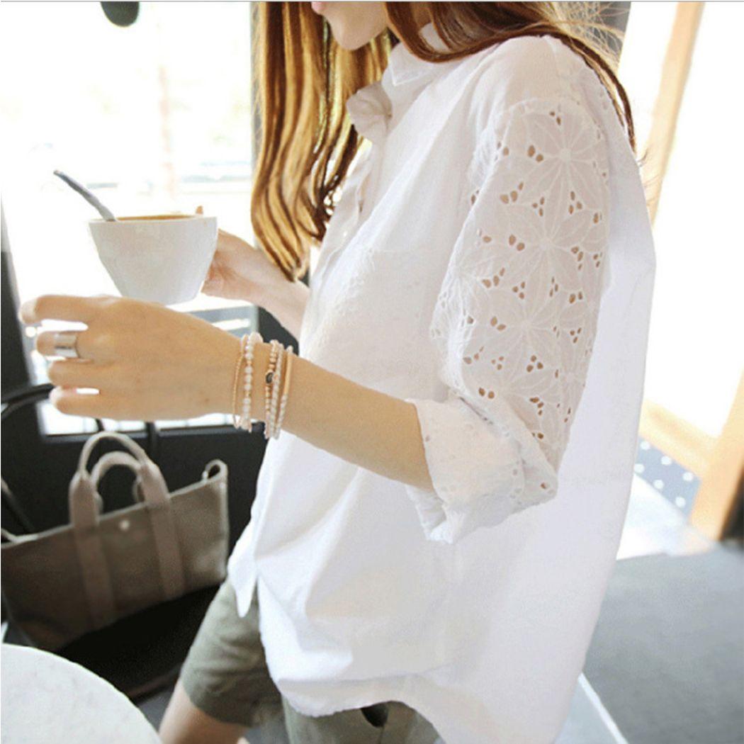 S-5XL Kadınlar Casual Beyaz Bluz Moda Hollow Out Çiçek Gömlek Kore Stili Uzun Kol Slim Fit Bluzlar Bayan Plus Size T200301 Tops