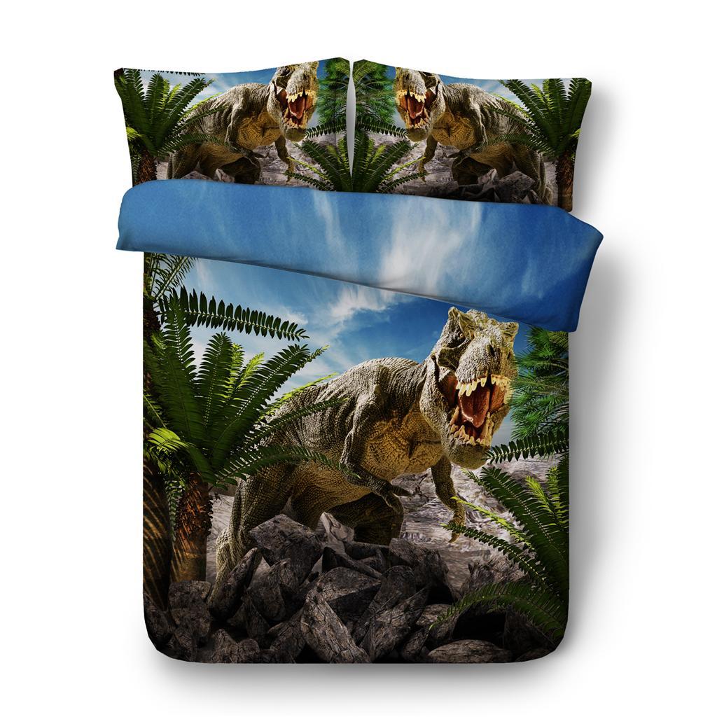 3D de Palm hojas de los árboles de los dinosaurios de impresión funda nórdica con una funda de almohada de cama 3 piezas Set, cubierta del edredón de microfibra, cierre de cremallera, sin cobertores