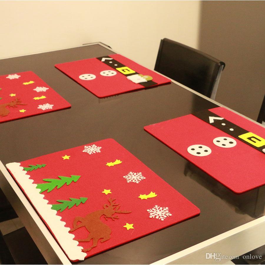 Feliz Navidad Estera de mesa Adornos de cocina Manteles Cubiertos Decoraciones para fiesta en casa Suministros de Navidad 2 Estilos XD21229
