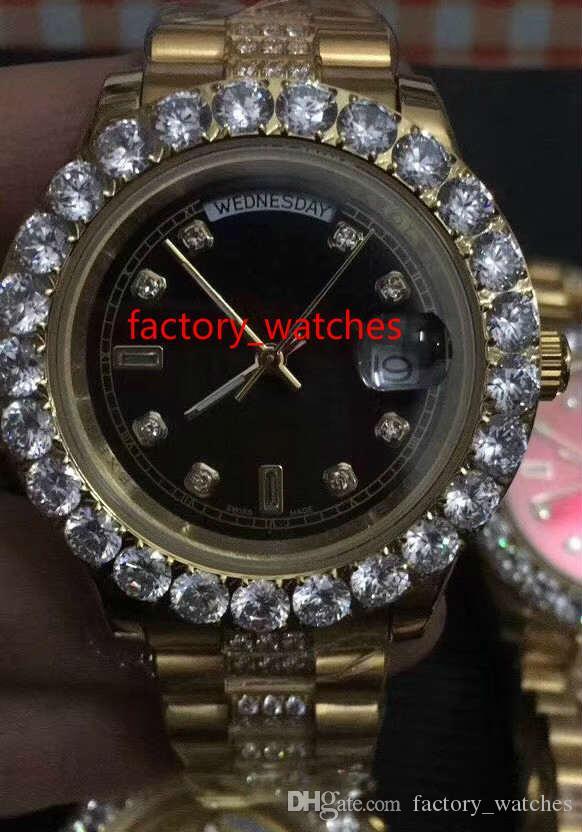 NUEVA hombres grandes bisel de diamantes caja de acero inoxidable del dial del reloj de oro multicolor de diamantes de 43 mm Reloj de pulsera automático reloj de oro de lujo perpetuo
