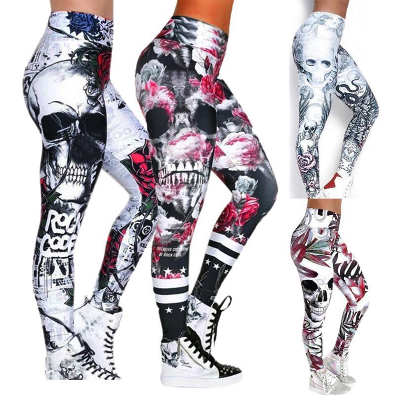 Gimnasio Leggings Yoga Pant cráneo de la manera de las mujeres impresas flaco de cintura alta Yoga polainas más los pantalones del tamaño de deportes # 25211