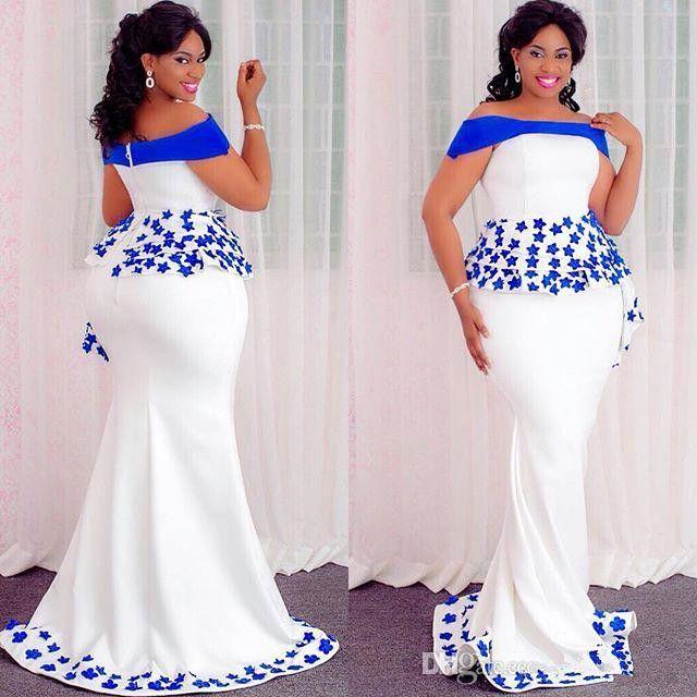 Aso Ebi 스타일 인어 저녁 공식 드레스 Peplum 2019 어깨 레이스 꽃 아프리카 나이지리아 일러스트 파티 가운