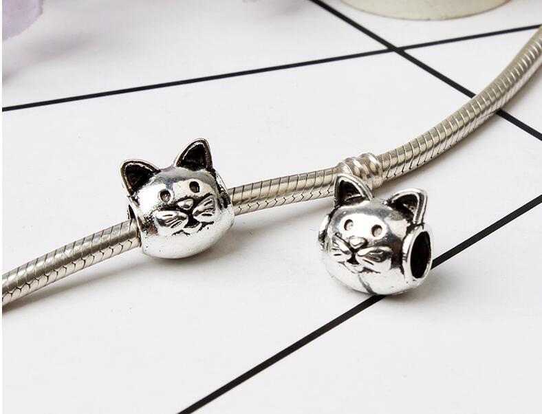 Atacado- gato grande buraco solta pérolas pérolas chamilia acessórios de moda charme Pandora DIY colar de jóias Europeu Pulseira Pulseira