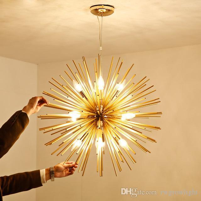 Moderno Luces pendientes de oro del arte LED lámparas pendientes de aluminio diente de león Modelado de Iluminación en la sala de estar dormitorio Comedor Bar Room - I1