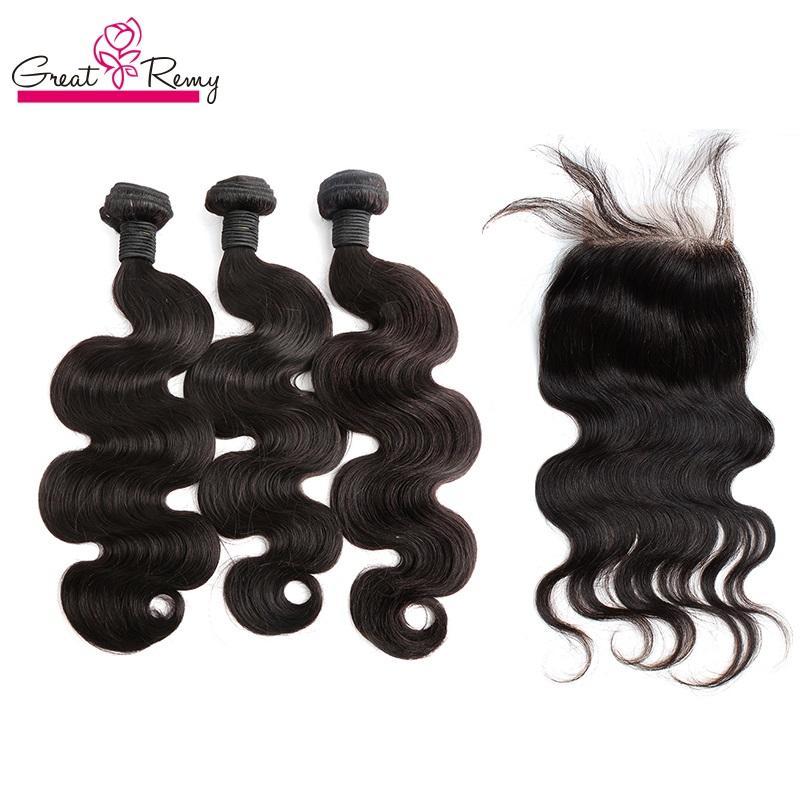 Greatremy® Top Closure (4 * 4) С 3шт Связки Full Head малазийский перуанский Индийский Бразильский Virgin Extensions волос Body Wave Dyeable