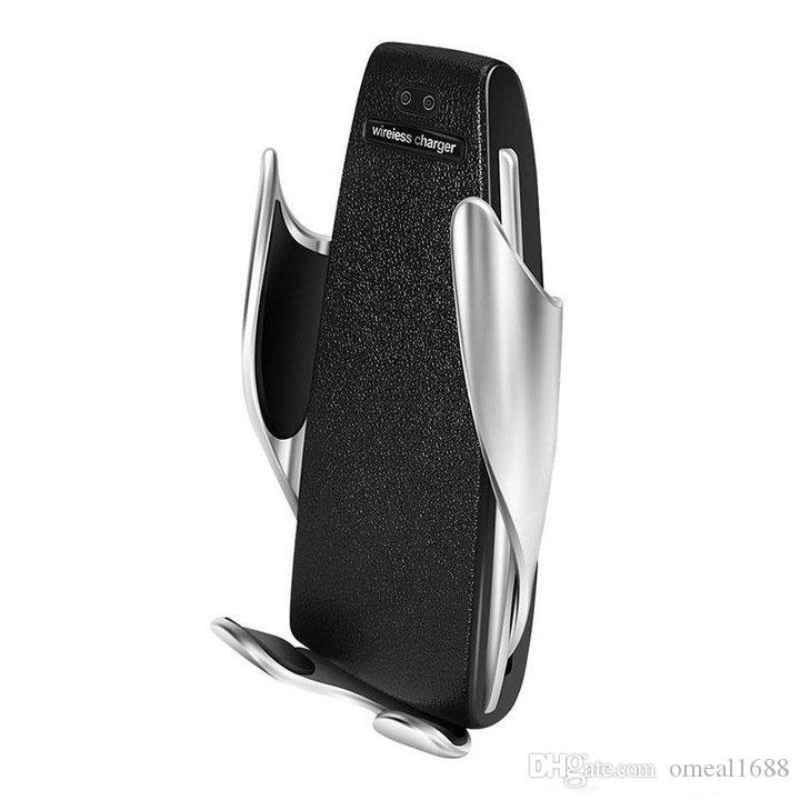 S5 لاسلكي سيارة شاحن أوتوماتيكي لقط للحصول على الروبوت تنفيس الهواء حامل الهاتف 360 درجة دوران 10W شحن سريع مع صندوق