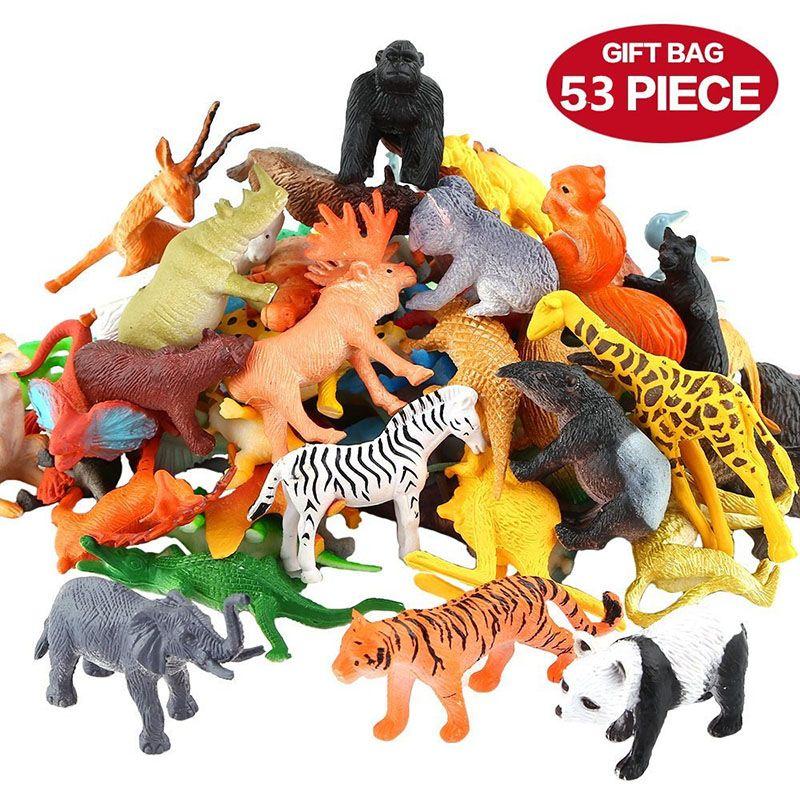 53 unids / set Mini Animal World Zoo Modelo Figura Acción Juguete Set Simulación de dibujos animados Animal Lovely Plastics Colección de Juguete Para Niños