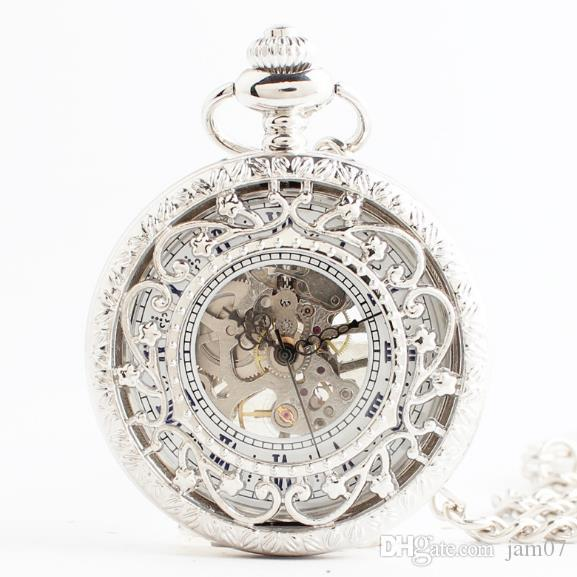 2018 Fashion personality gifts hollowed-out flower flip vintage pocket watch men flip creative mechanical watches women