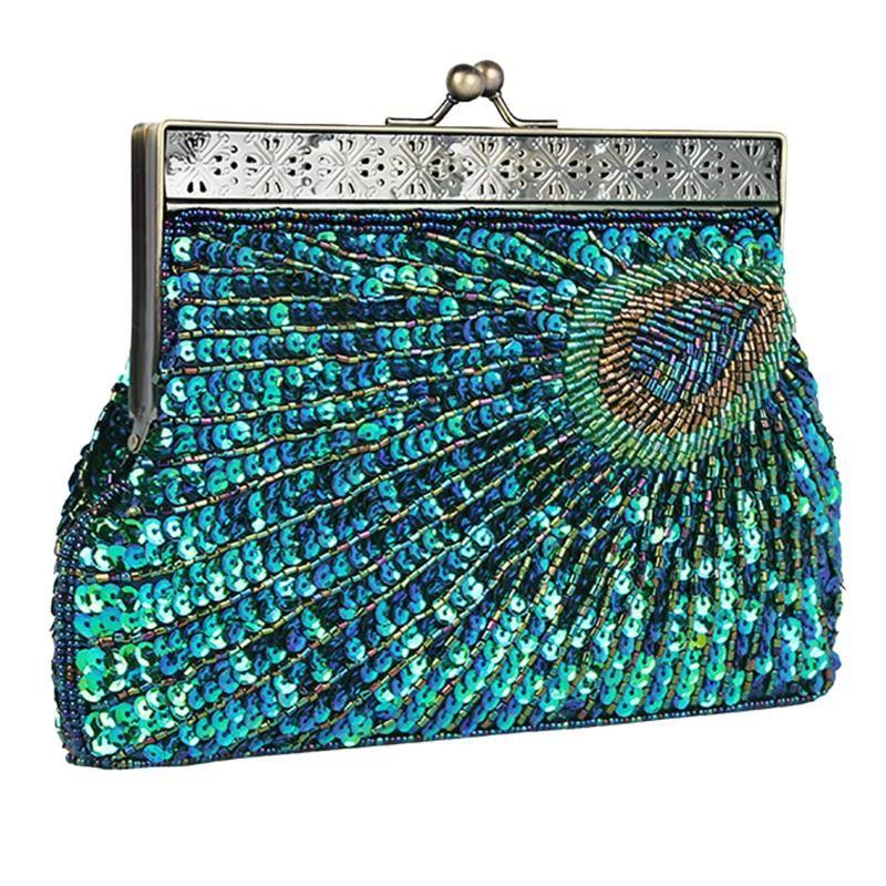Peacock Estilo Mulheres Sequin Evening Clutch Bag Vintage Bolsa de Ombro Cadeia Wedding Party Bolsas Mujer Para Banquet New Arrival