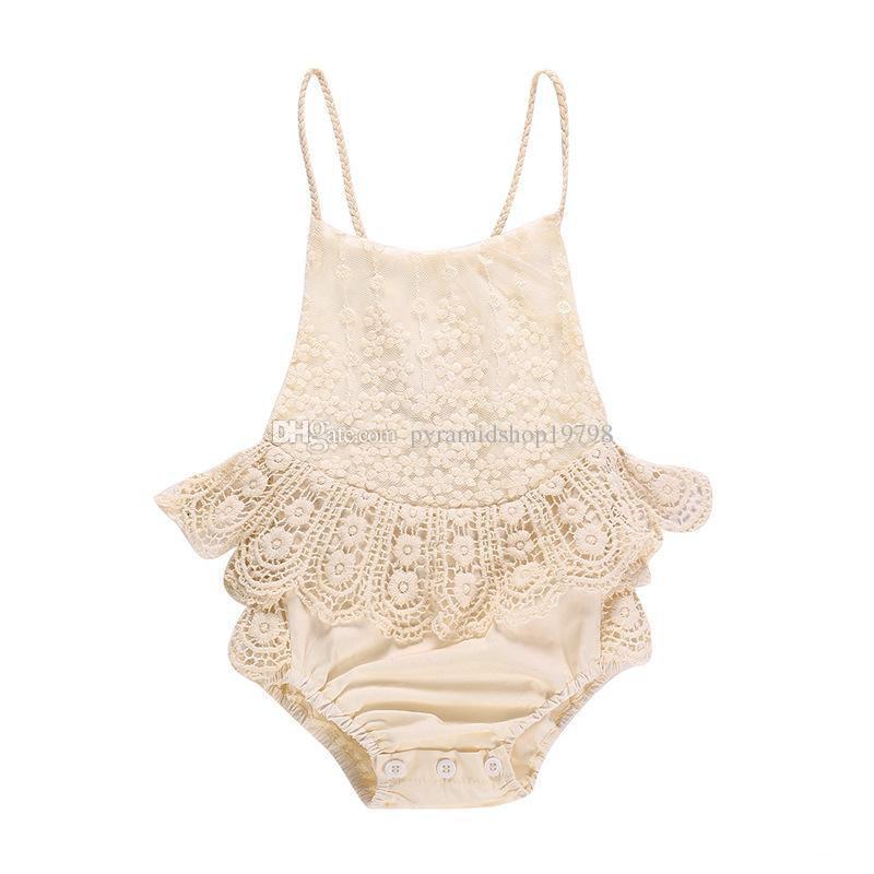 Bébé fille vêtements barboteuse Summer Suspender Lace Romper 100% coton enfants barboteuse vêtements