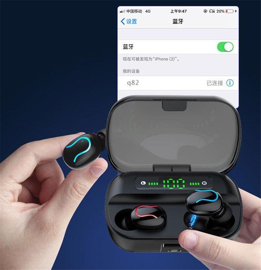 F9-5 Bluetooth 5.0 TWS Kulaklık Dijital Görüntü Kulaklık Dokunmatik Düğme kablosuz kulaklık LED Gerçek Kulaklık Stereo Kulaklık # OU175
