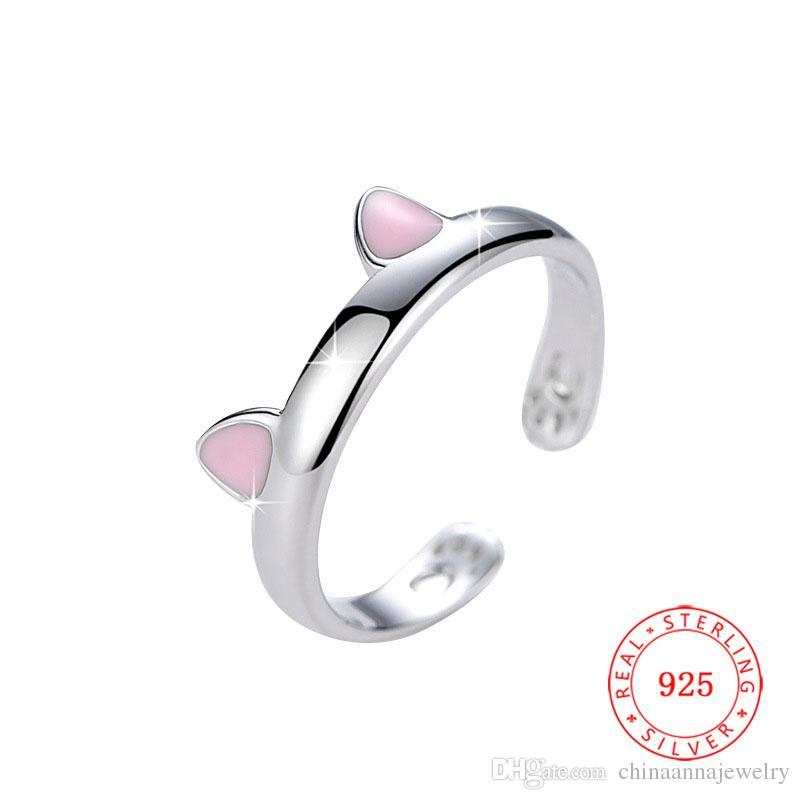 جودة عالية الصلبة 925 الفضة الاسترليني قابل للتعديل لطيف القط الأذن خاتم مخلب للسيدات مكتب الأزياء حلقات القط