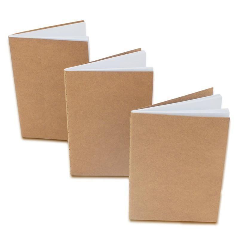 كرافت الدفتري غير المبطنة فارغة كتب سفر المجلات لطلاب المدارس الأطفال \ 'ق الكتابة كتب مشاريع الدرجة براون 8.8 * 15.5CM