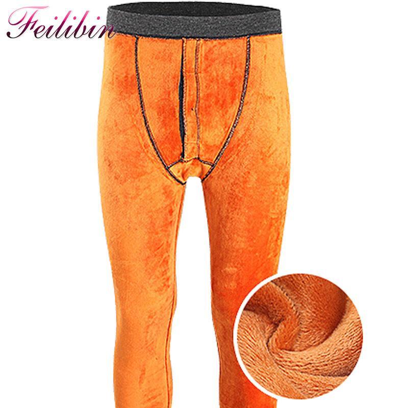 Men's Sleepwear Feilibin Winter Mens Warm Leggings Thick Men Long Johns Plus Size Underwear Elastic Tights Add Wool Thermal Pants