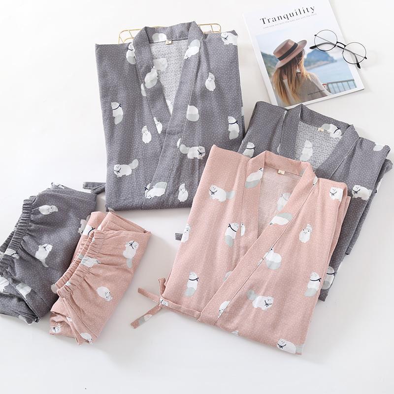 Женские пижамы FDFKLAK Весна осень влюбленные пижамы женщины полные рукава хлопок пижама наборы мультфильма пара пижама для