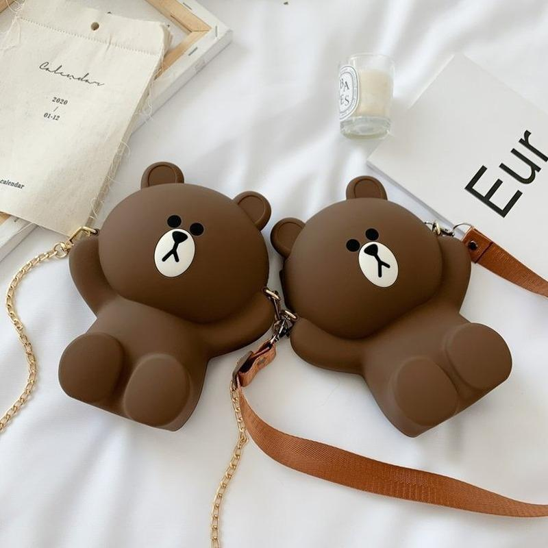 2020 new shoulder bag women's Japanese cartoon cute brown bear casual fashion mini messenger bag ladies