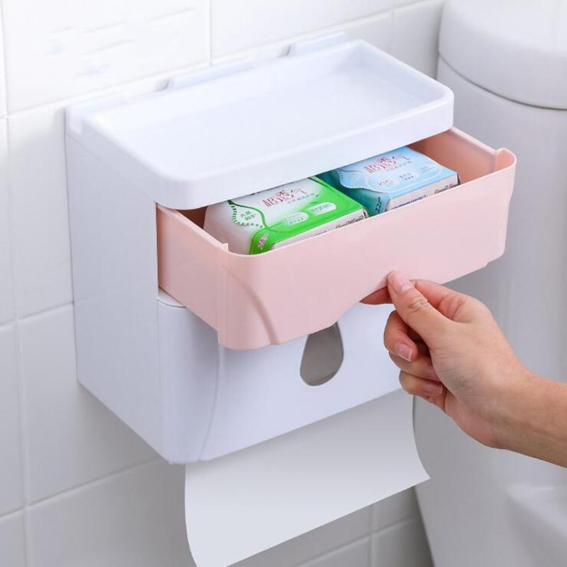 Mural Papier hygiénique Distributeur pour papier tissu Boîte Multifold Serviettes Tissue Boîte de rangement tiroir Salle de bain Produit