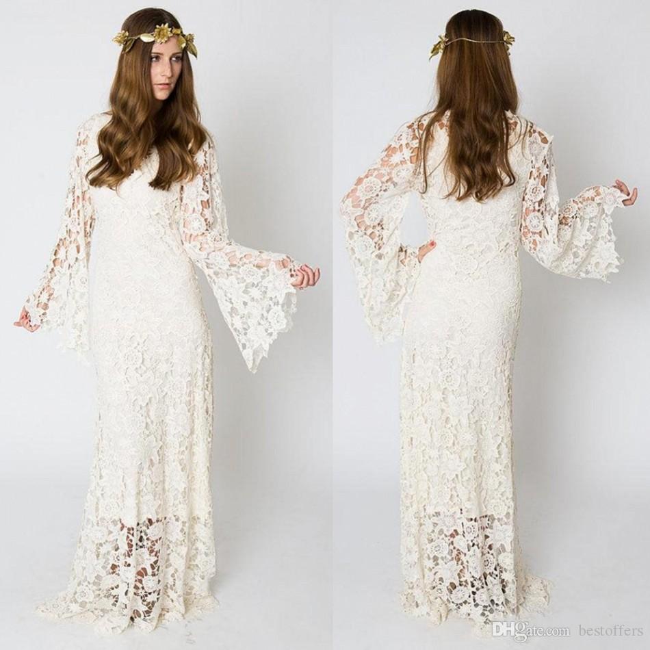 Bohemio de la vendimia vestidos de novia 2019 manga de campana de encaje de ganchillo Hippie Boho bordado vestido de novia de encaje Maxi boda