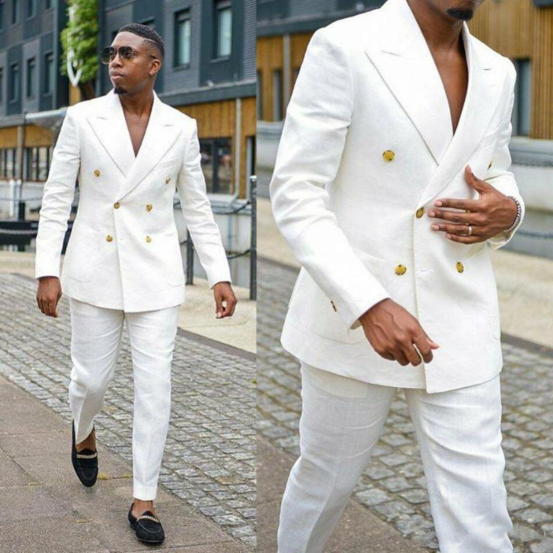 Beau costumes en lin blanc formel pour hommes Vêtements de Groom Double Party boutonnage mariage Smokings Peaked Lapel (veste + pantalon)