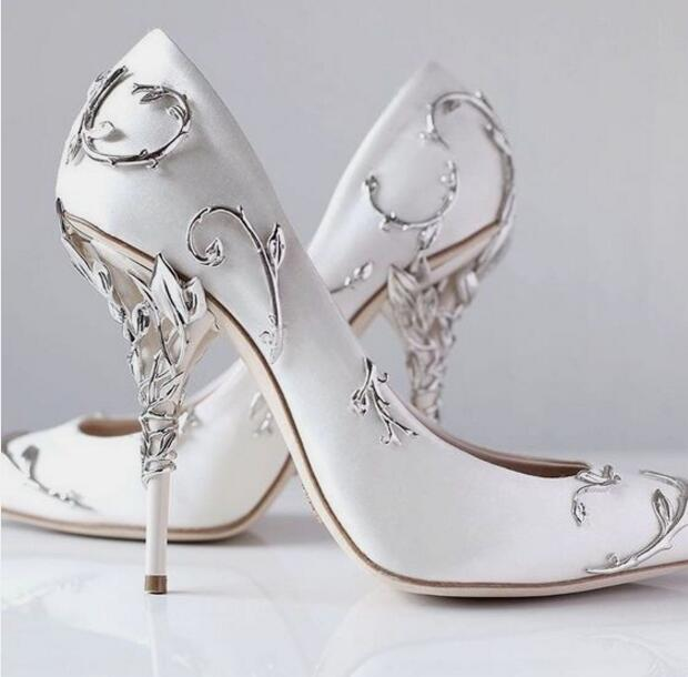 Ralph & Russo Silver Leaf Brand Wedding Dress Bridal Pumps for women Thin high heels White Satin Ladies Pumps Slip on Solid Single Shoes
