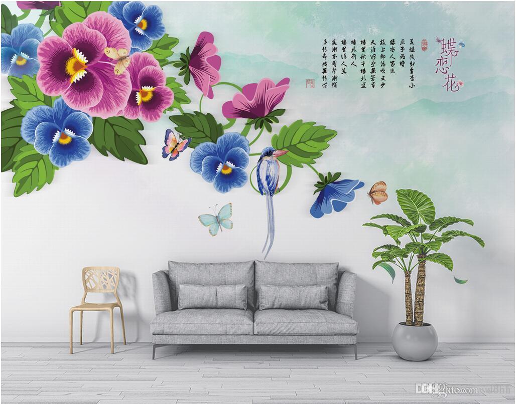 3d комната обои на заказ фото нетканые фреска скандинавский минималистский фаленопсис бабочка любовь цветок фон фото обои для стен 3 d