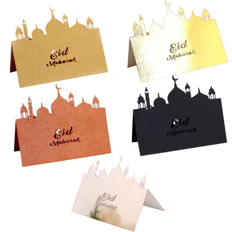 50pcs Laser Cut Castle Eid Mubarak Muslim Ramadan Wedding Party Invitation Table Place Card Name Reception Seatting Cards H55E