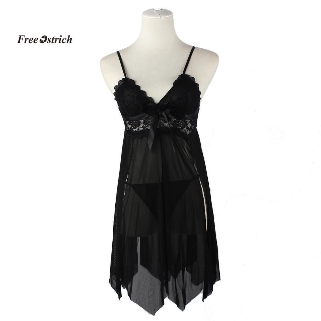 Free Ostrich Clothes Sexy Lingerie Women Underwear Sleepwear Lace Dress G-string Nightwear BK sexy underwear women black dress