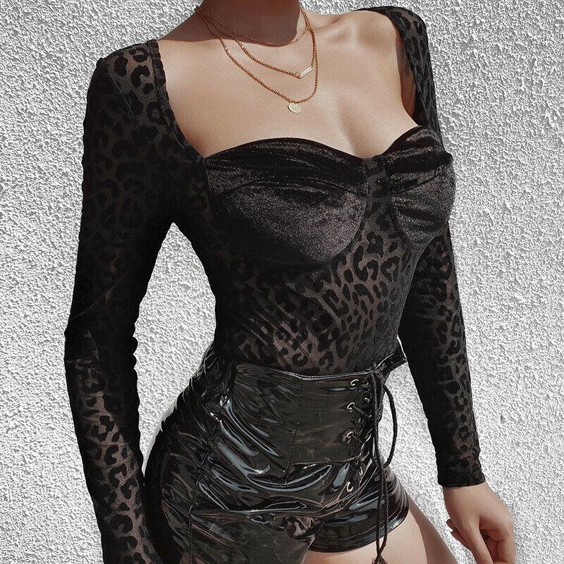 Sexy Lace Bodysuit Women Leopard Print Bodycon Jumpsuit Long Sleeve Rompers Body mujer Overalls Femme Clubwear Bodysuits Tops