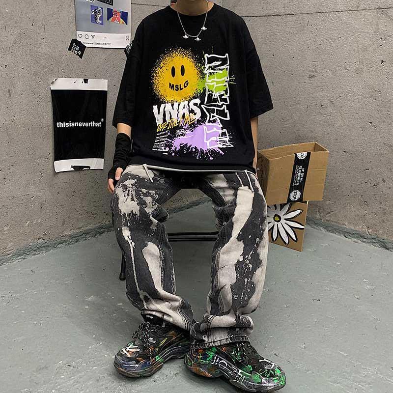 Designer T-shirt pour les hommes de la mode Hip Hop Hommes en vrac T-shirts Chemises d'impression géométrique Hommes ras du cou T-shirt 2 couleurs Taille M-3XL