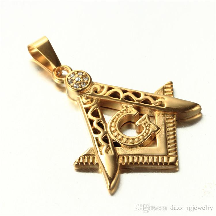 Fashion Gold Stainless Stee Compass Square Freemason Symbol Necklace Free Mason Masonic Necklaces & Pendants for women and men jewelry