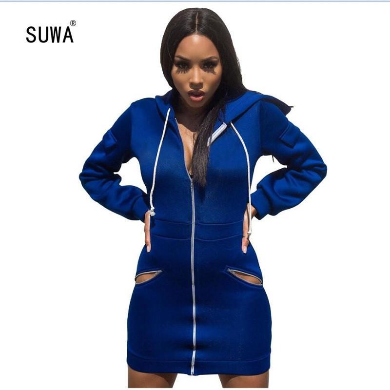 Manga comprida com capuz Mulheres Casual passo One usar vestido Outono Frente Zipper profunda vestido azul desgaste ativo Hoodies Vestido SM9057G T200526