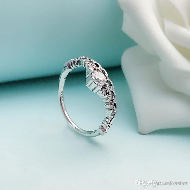 Fashion Women Fairy crown Rings with Original Gift Box for Pandora 925 Sterling Silver CZ Diamond Ring Set