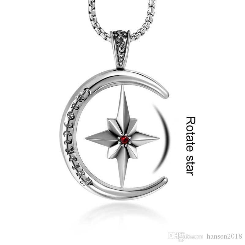 Pendentif hommes titane Ornements en acier Collier avec pendentif étoile Rotating riz fleur multicolore Étoile Étoile Pull Pendentif chaîne
