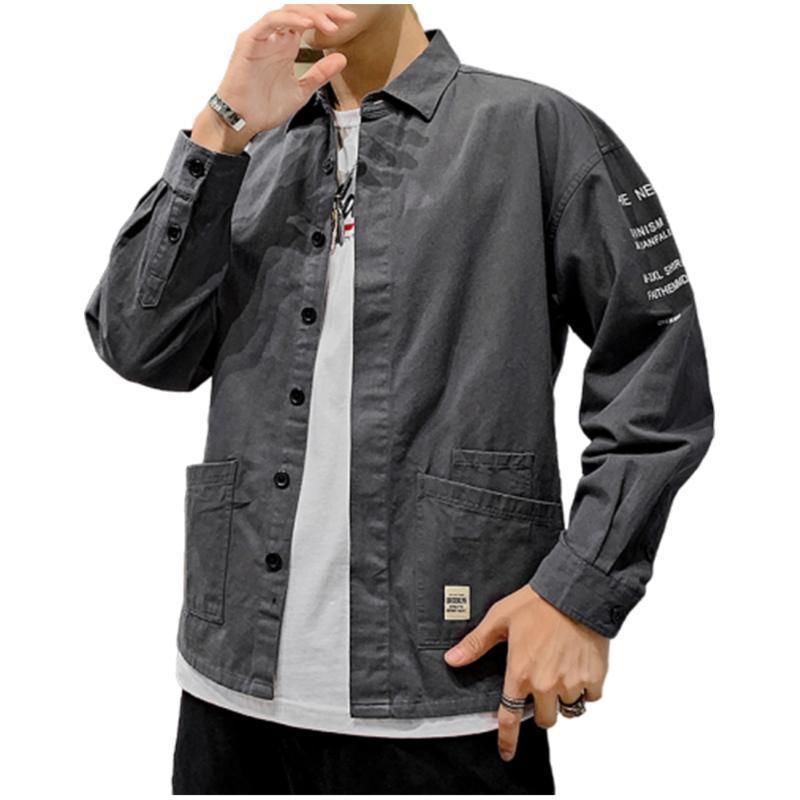 casuale comodo camicia a maniche lunghe tendenza primavera nuova epoca giapponese cotone utensili da uomo manica lunga camicia da uomo