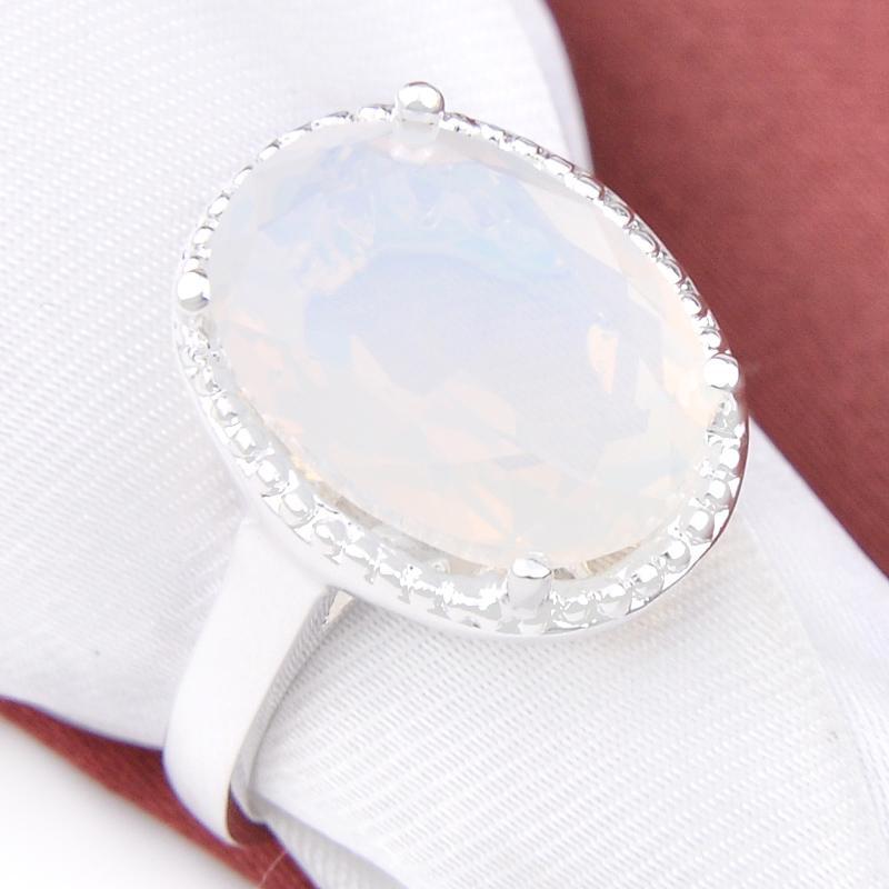 Luckyshine 12 PC / clásico óvalo blanco Moonstone gemas Anillo de plata 925 encanto regalo caliente venta único del lote madre para los regalos de los amantes
