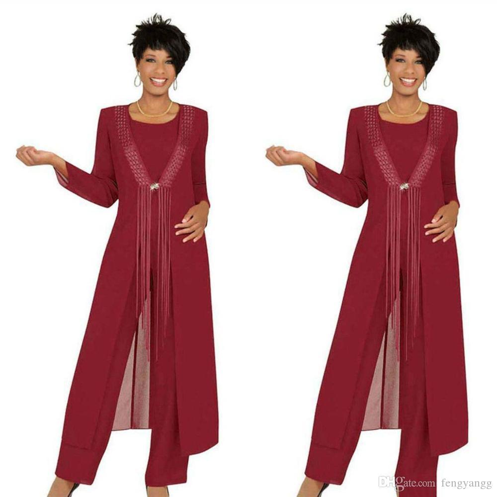 2019 ثلاثة قطعة قرمزي أم العروس بانت الدعاوى مع سترة الشيفون مخصص كم طويل فستان زفاف الزوار مخصص