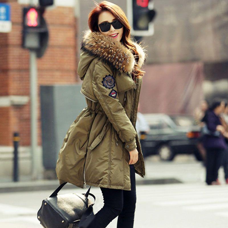 2019 роскошный реальный енот меховой воротник с капюшоном пальто Parka 90% Parkas теплые толстые женские зимние куртки и пальто WUJ0551