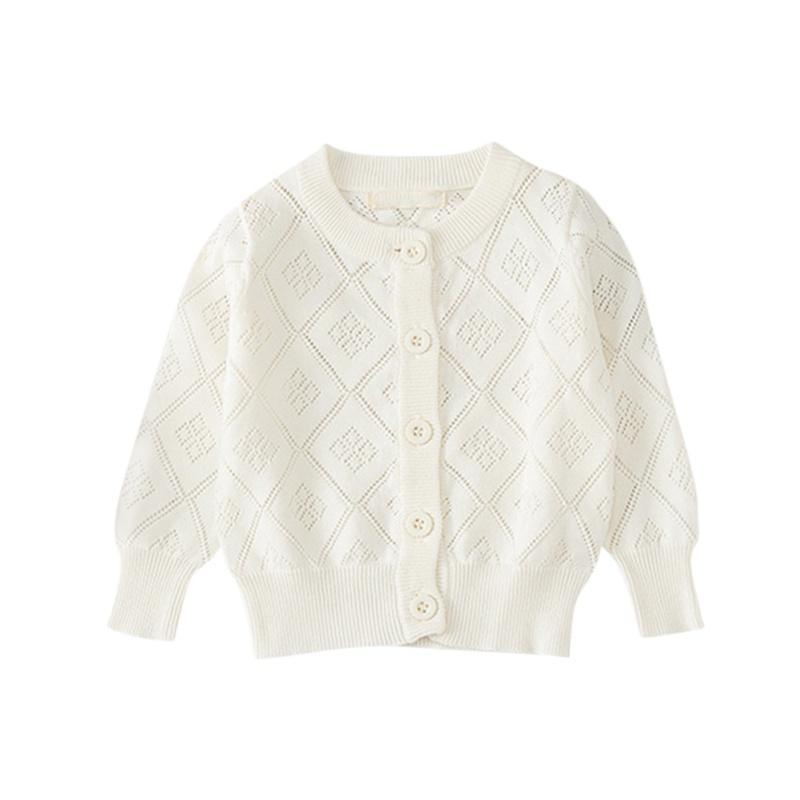 1-6T Triko Coat Erkekler Kızlar Pamuk Katı Renk Yuvarlak Yaka Hırka Örme Klima Gömlek Yeni
