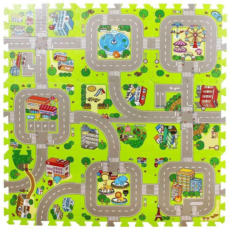 City Road Traffic Baby EVA Foam Carpet Puzzle Crawling Rugs Car Track Playmat Toddler Racing Games Play Mat Toys For Children CX200615