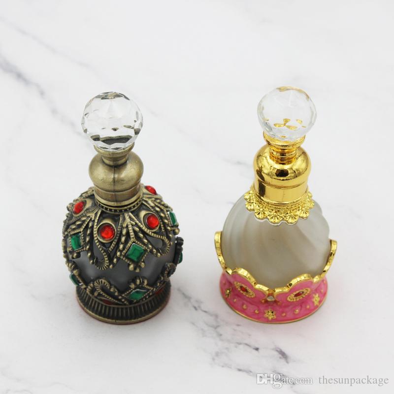 15ml Tragbare Reisen Parfüm Flasche nachfüllbar Glas Mittlerer Osten Duft ätherischer Ölbehälter mit Kristalliten verklebt