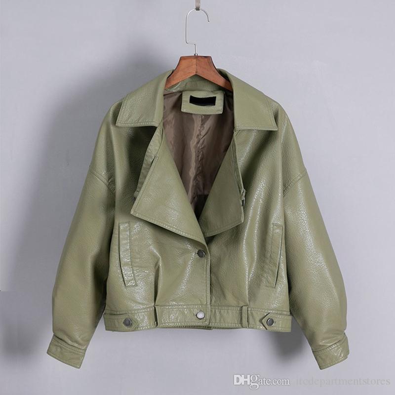 New Vintage femmes Faux Veste en cuir casaque simple boutonnage moto Vestes en cuir Femme court Outwear