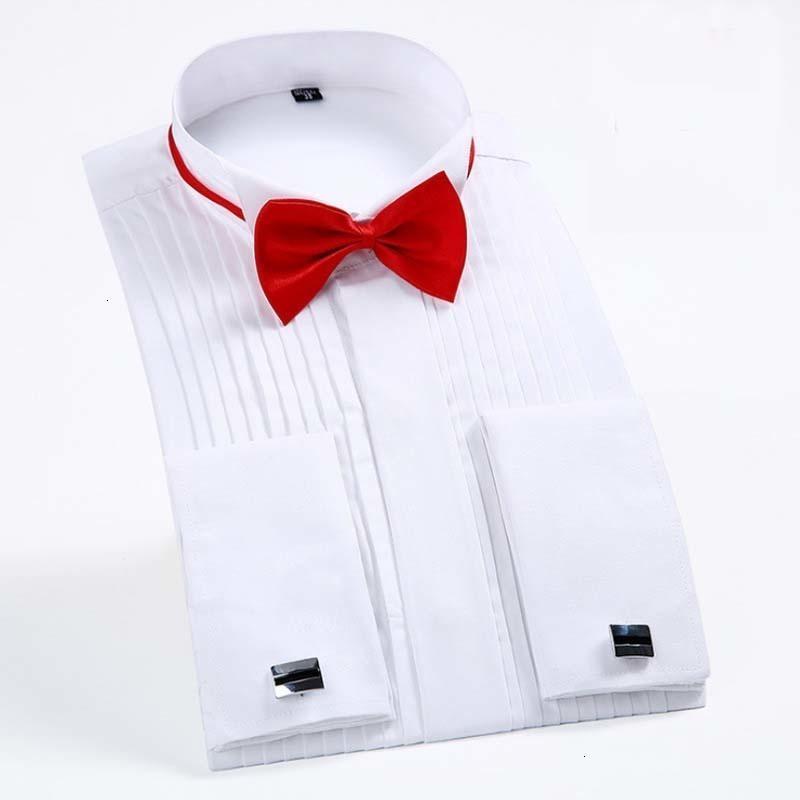 Français manchette Tuxedo hommes Fold Chemise d'extrémité d'aile col hommes robe à manches longues chemises boutonnées formelle de mariage Epoux Chemise