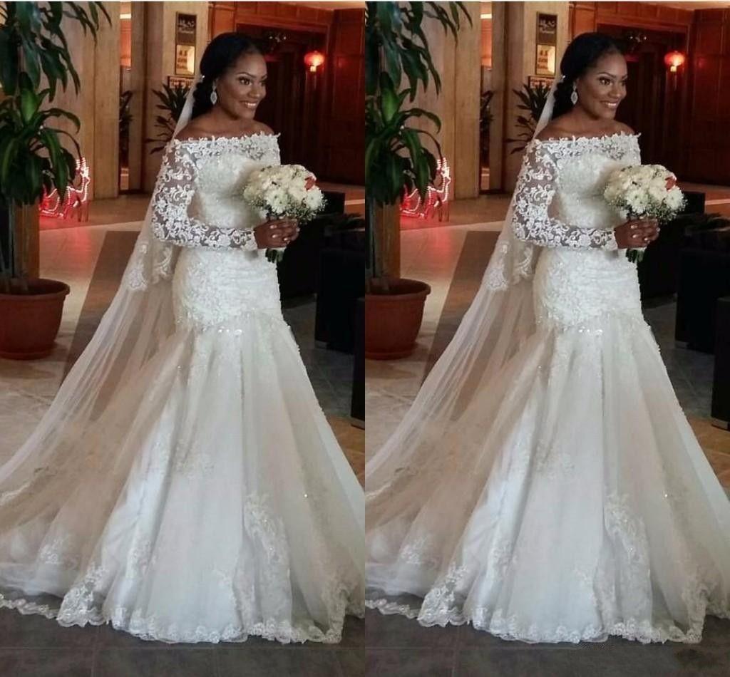 2020 novo barato árabe sereia vestidos de casamento fora da ilusão de ombro mangas compridas Cristal frisado Plus size varredura trem vestidos de noiva formais