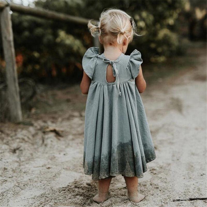 2019 Toddler bambini abbigliamento di estate del vestito delle neonate cotoon abiti in lino bambini breve manicotto Ruffle vestiti lunghi Bella Ragazza T191007