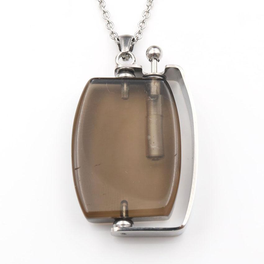 الجملة 5 قطع الفضة مطلي كوارتز مدخن زجاجة عطر قلادة هندسية للمجوهرات النساء أنيقة