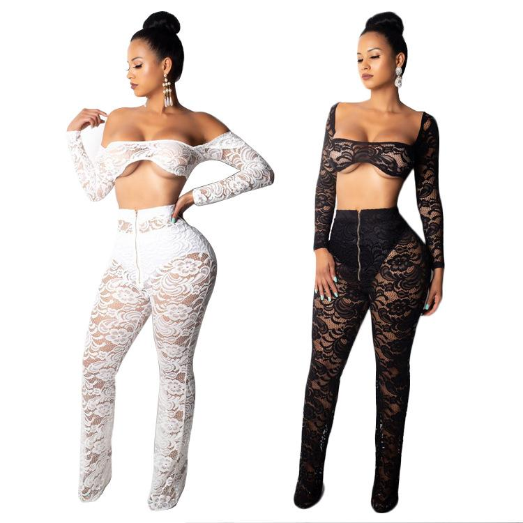 Black White Lace Women Set 2 Pieces Skinny Tops And Long Pants Tracksuit Slash Neck Two Pieces Outfits