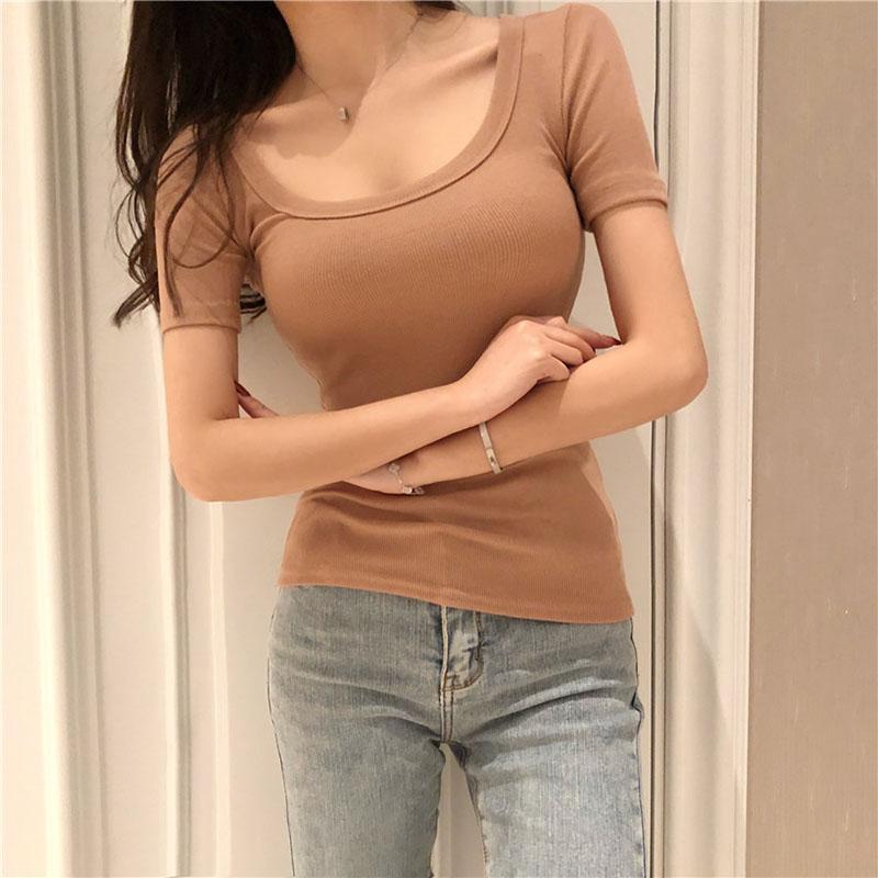 Shintimes 2020 Verão Branca Camiseta Mulheres Low O-Neck Sexy t-shirts Sólidos T-shirt Tops Femme coreano Estilo Roupa mulher