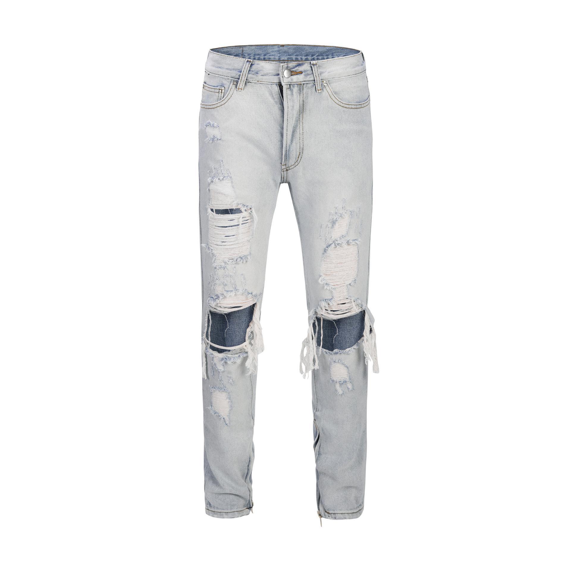 Sıska Açık Mavi Erkek Jeans Yüksek Moda Tasarımı Slim Fit Homme Ripped Jeans Açılış Fermuar Delik Kot Pantolon Broken Yıkanmış