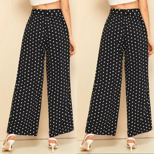 New Women's Polka Dot Wide Palazzo Trousers Pants Stretchy Summer Beach